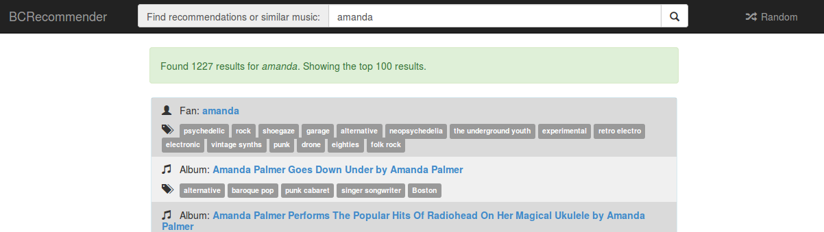 bcrecommender search for amanda